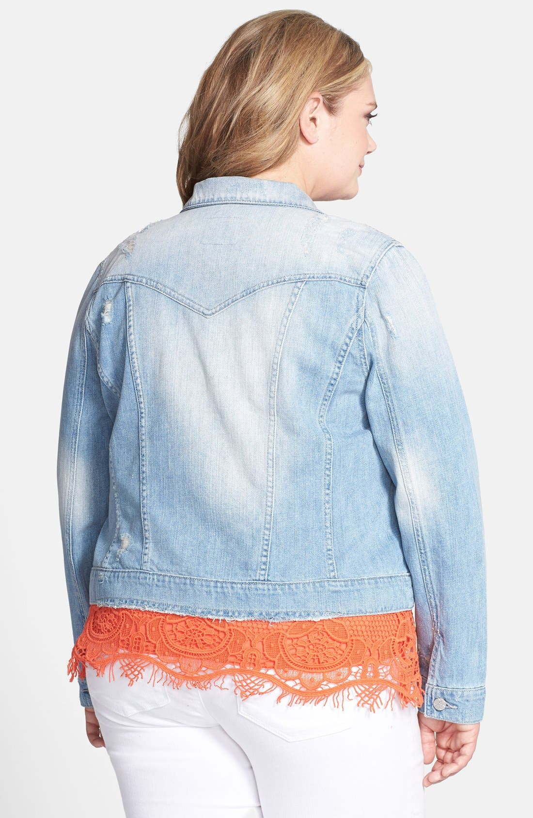 Alternate Image 2  - Jessica Simpson 'Pixie' Denim Jacket (Plus Size)