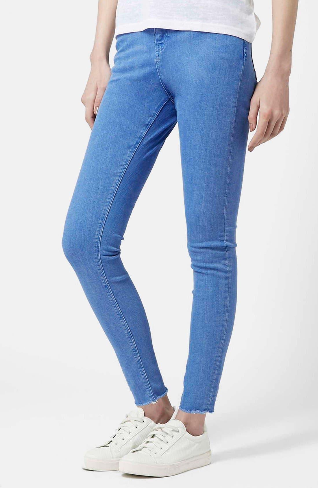 Main Image - Topshop Moto 'Jamie' High Waist Skinny Jeans (Blue) (Short)