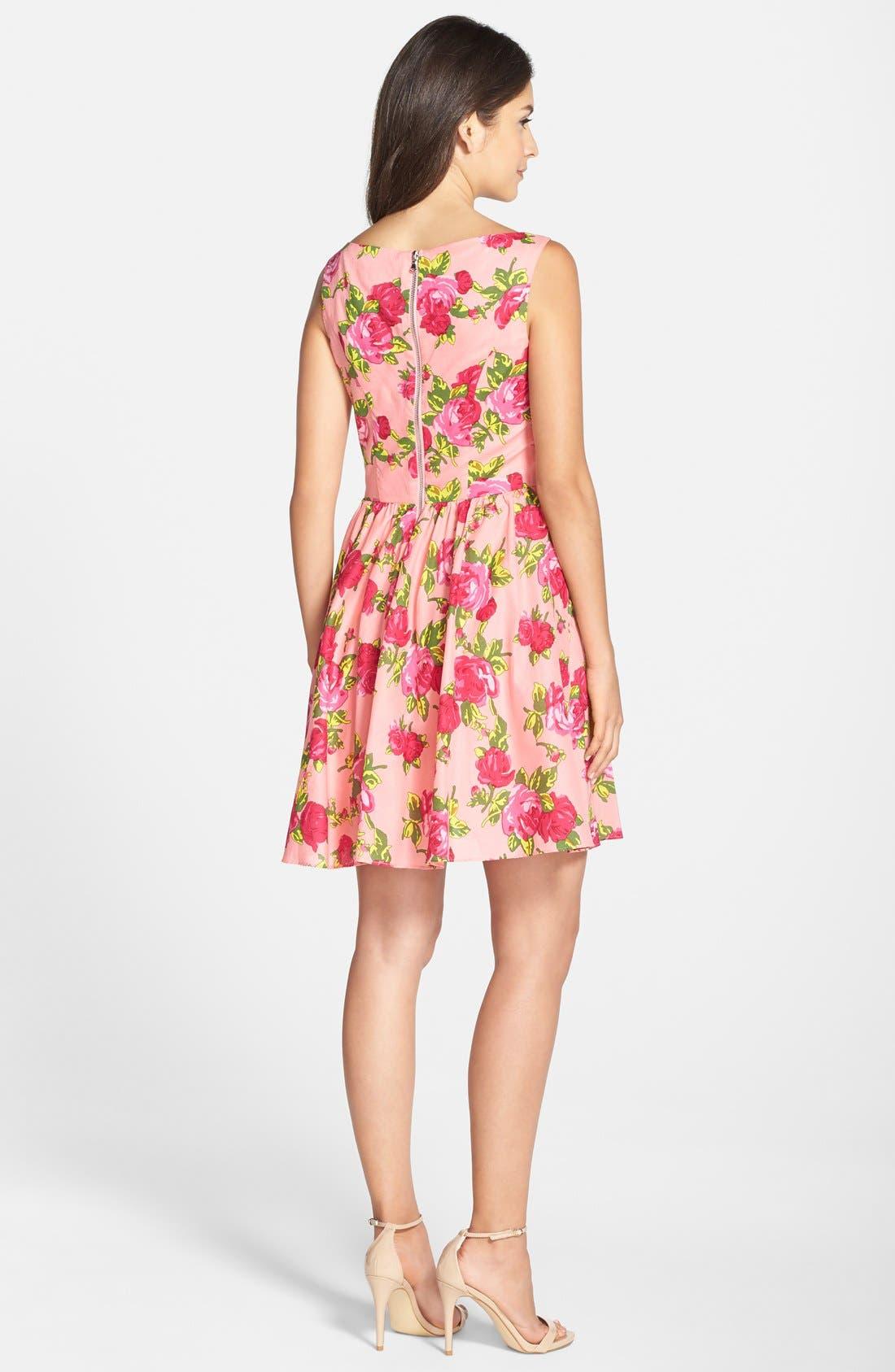 Alternate Image 2  - Betsey Johnson Floral Print Cotton Fit & Flare Dress
