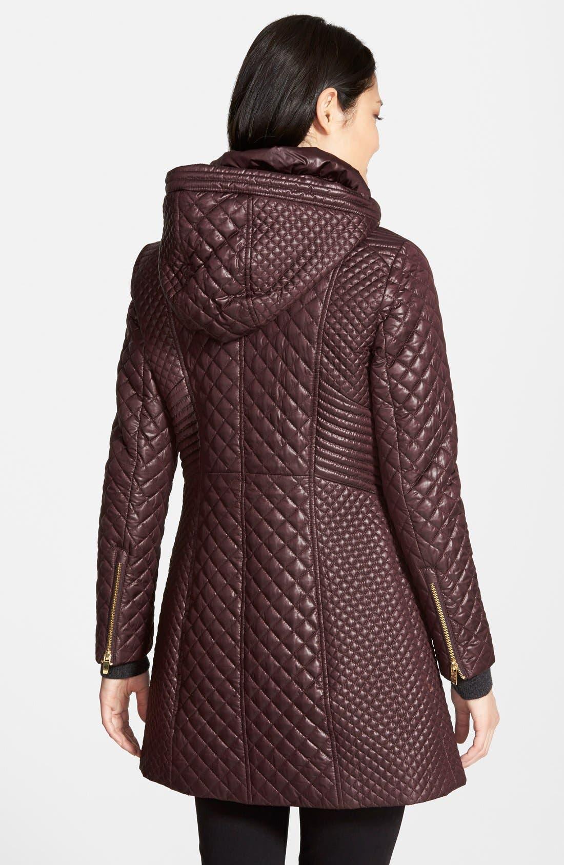 Alternate Image 2  - Via Spiga Hooded Front Zip Quilted Coat (Regular & Petite)