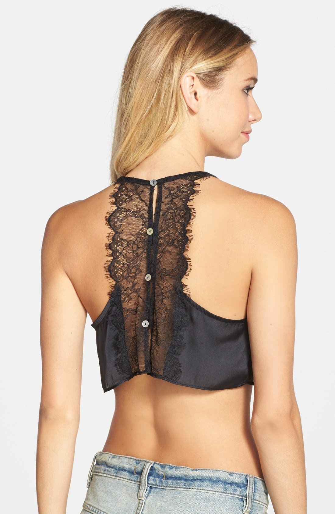 Alternate Image 1 Selected - Free People 'Sensual' Satin & Lace Crop Top