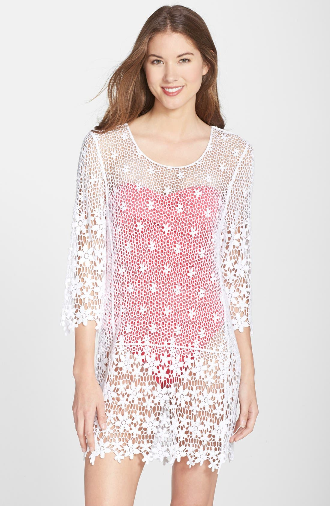Alternate Image 1 Selected - J Valdi Crochet Cover-Up Tunic