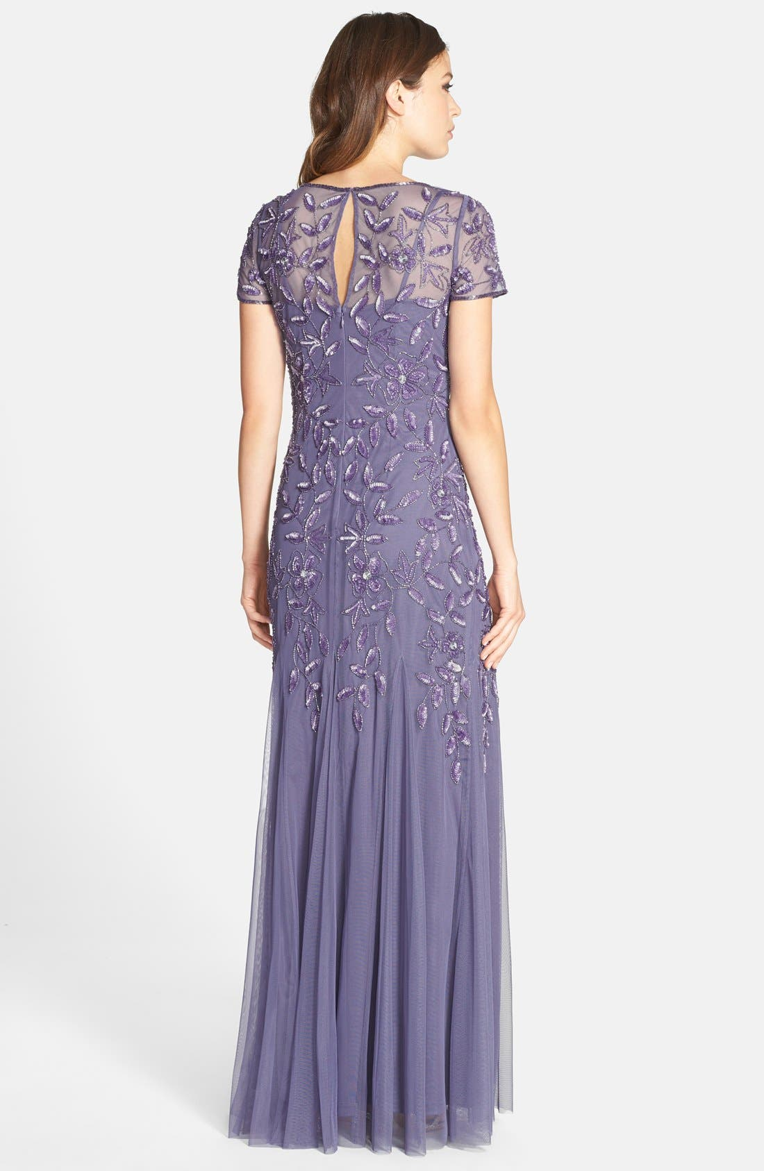 Alternate Image 2  - Adrianna Papell Floral Beaded Trumpet Gown (Regular & Petite)