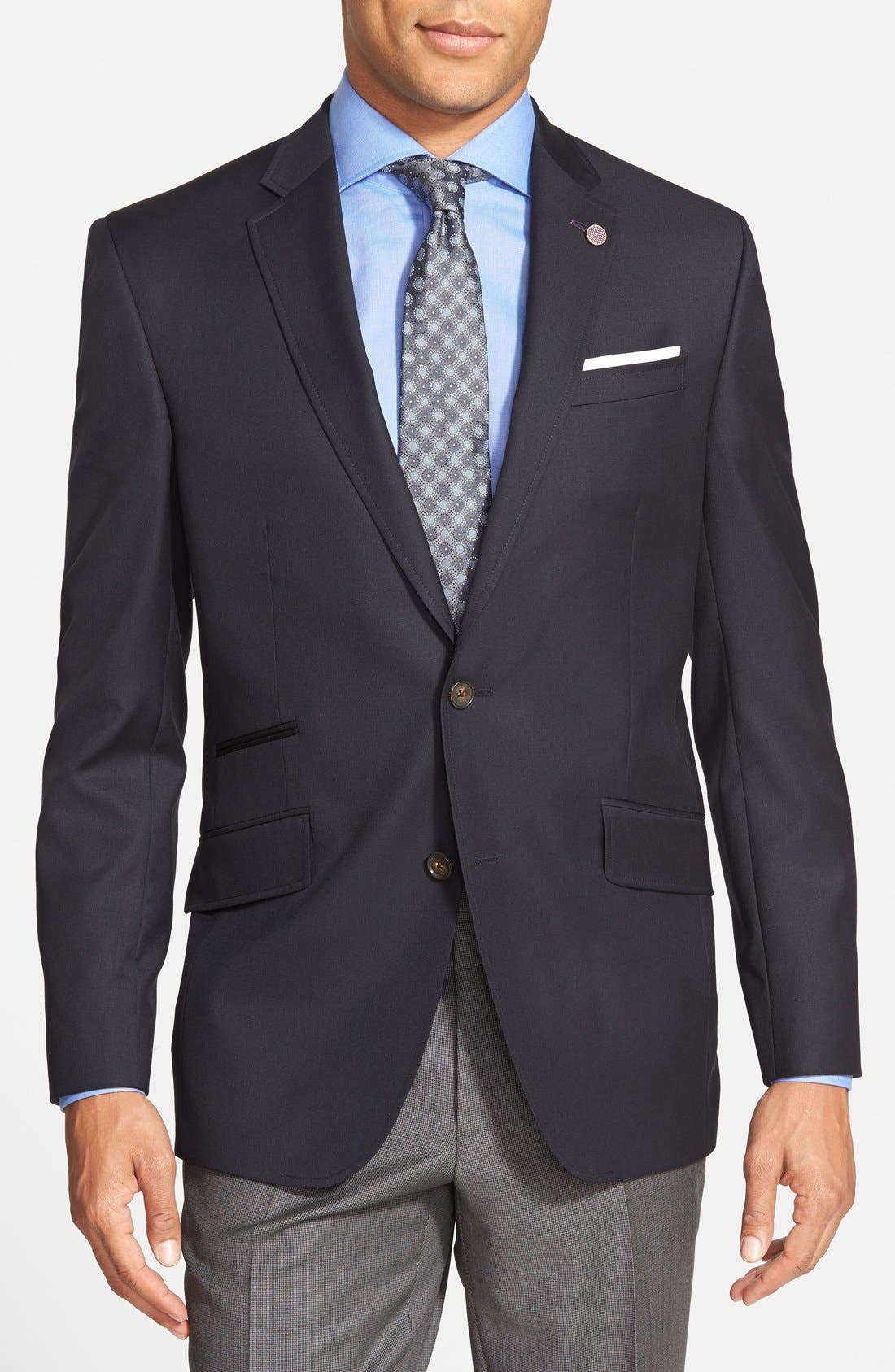 Alternate Image 1 Selected - Ted Baker London 'Judd' Trim Fit Navy Wool Blazer