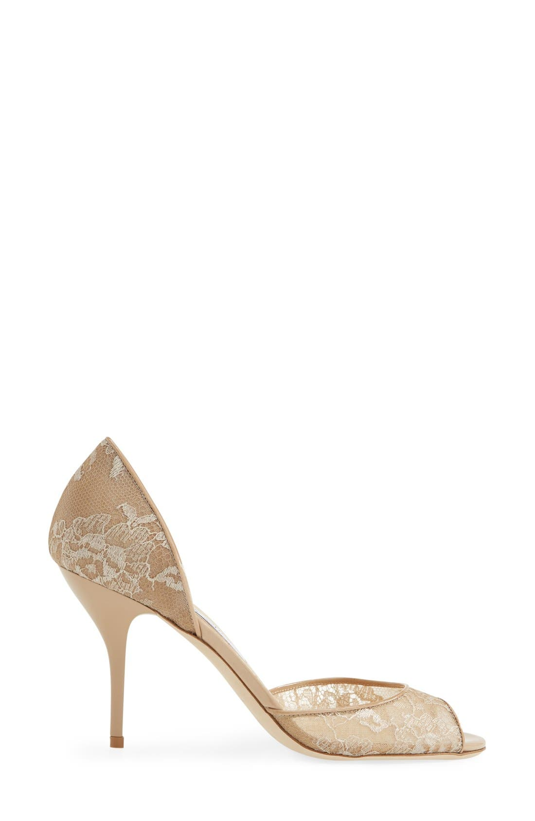 Alternate Image 4  - Jimmy Choo 'Lien' Lace Open Toe d'Orsay Pump (Women)