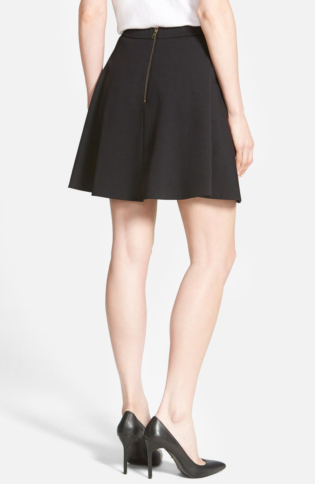 Alternate Image 3  - Halogen® Back Zip Flared Ponte Skirt (Regular & Petite)