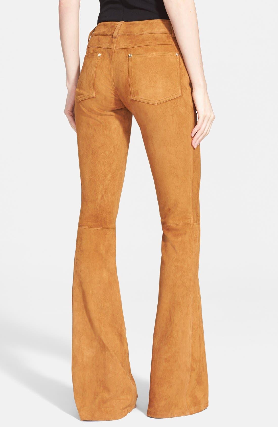 Alternate Image 2  - Alice + Olivia Suede Leather Pants