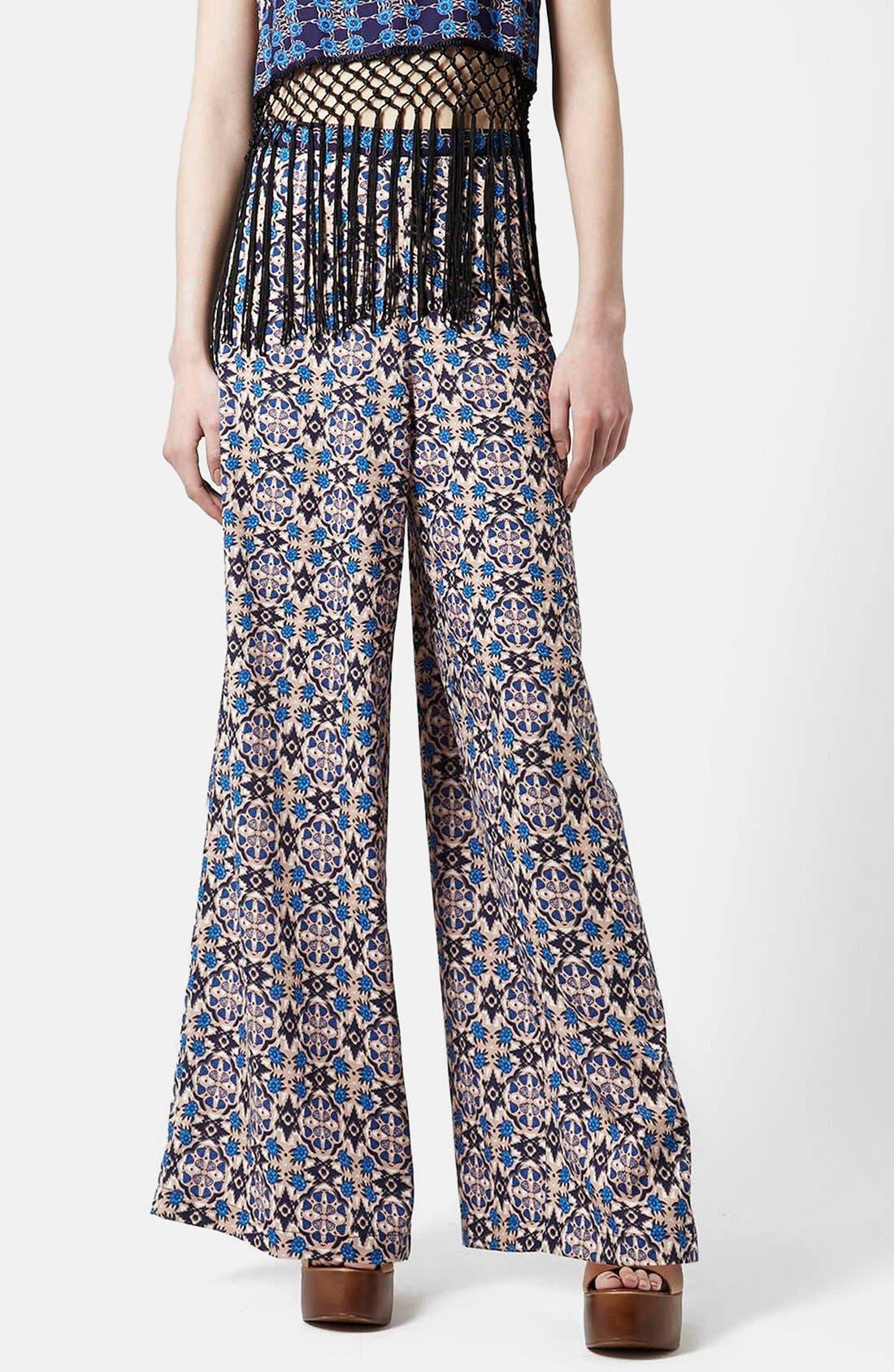 Alternate Image 6  - Topshop 'Troubadour' Tile Print Wide Leg Trousers