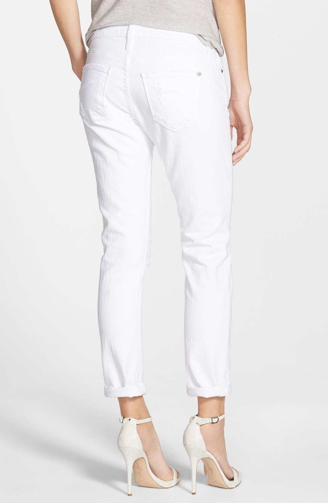 Alternate Image 2  - James Jeans 'Neo Beau' Stretch Boyfriend Jeans (Destroyed White)