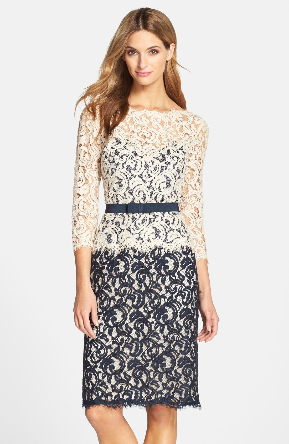 Main Image - Tadashi Shoji Two-Tone Lace Sheath Dress (Regular & Petite)