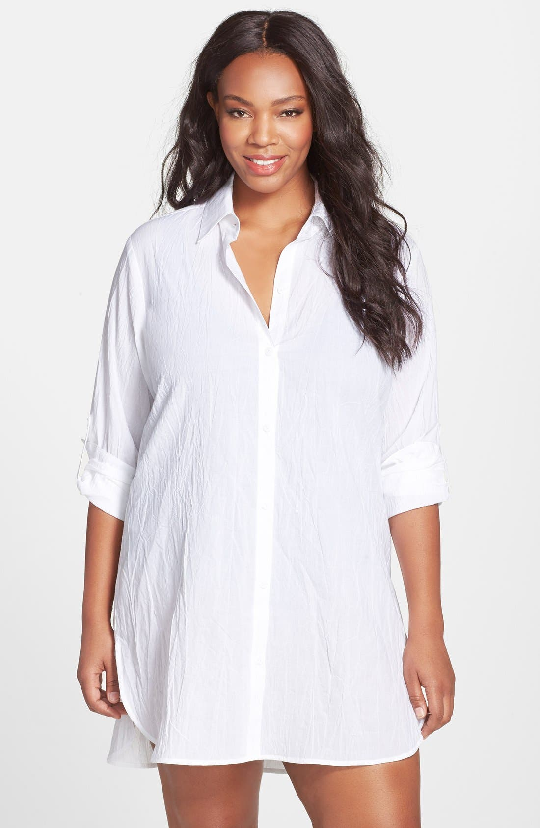 Tommy Bahama Boyfriend Shirt Cover-Up (Plus Size) (Online Only)