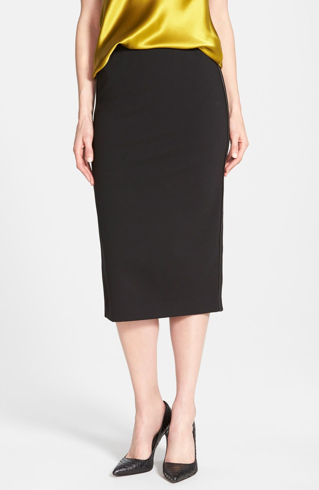 Alternate Image 1 Selected - Lafayette 148 New York Faux Leather Trim Punto Milano Long Pencil Skirt
