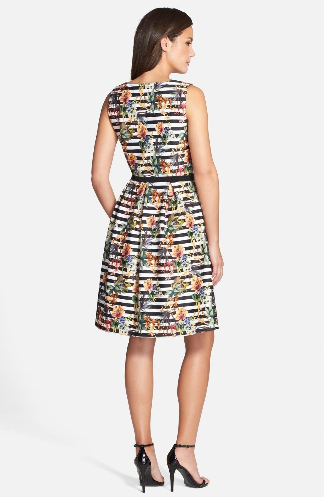 Alternate Image 2  - Chetta B Floral Stripe Fit & Flare Dress