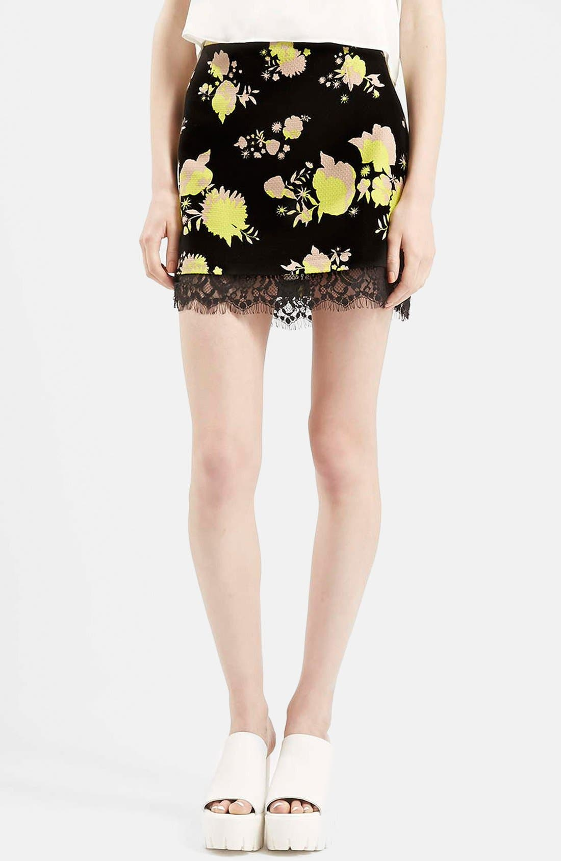 Alternate Image 1 Selected - Topshop Flower Print Lace Miniskirt