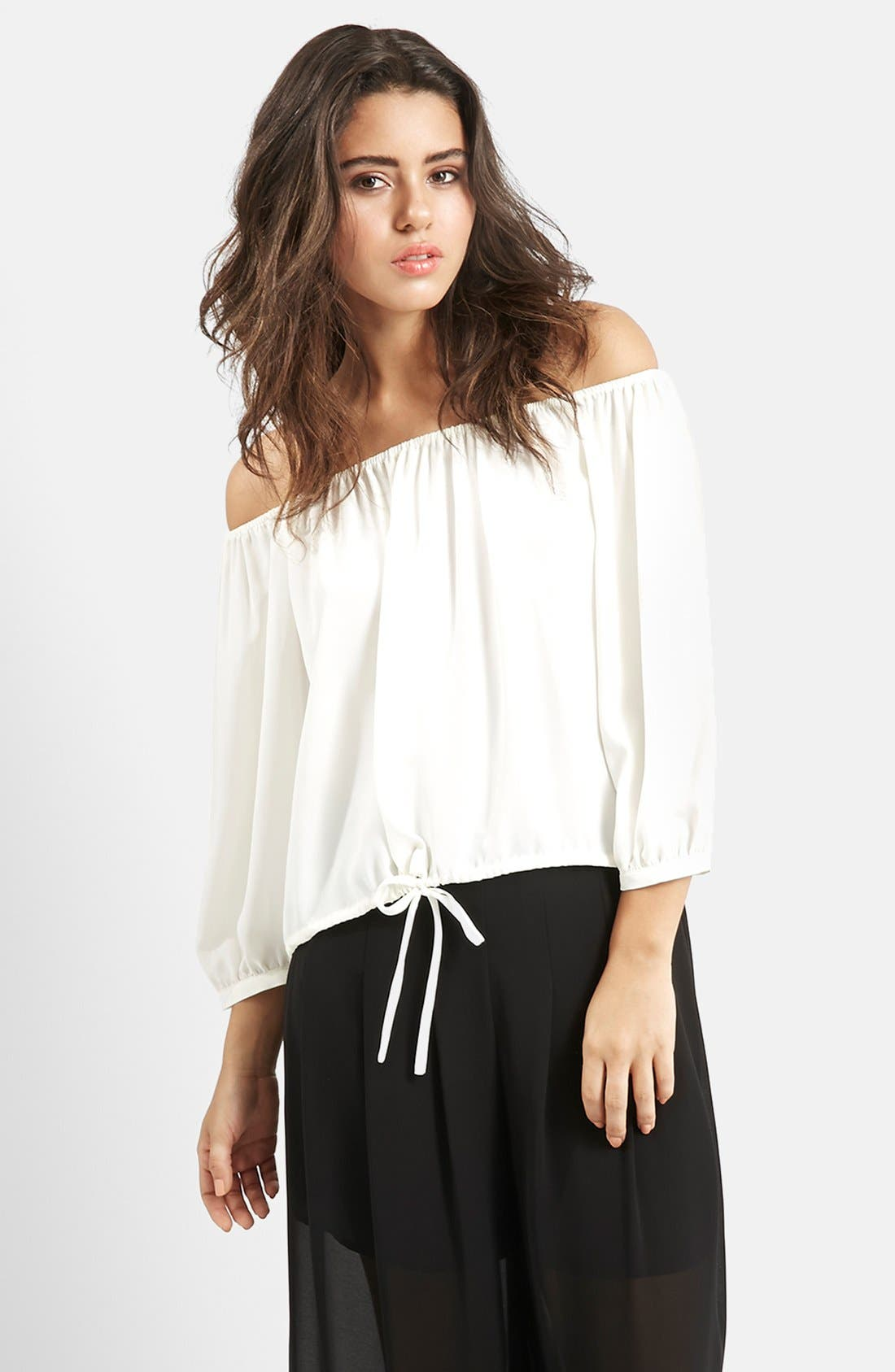 Main Image - KENDALL + KYLIE at Topshop Off the Shoulder Blouson Top