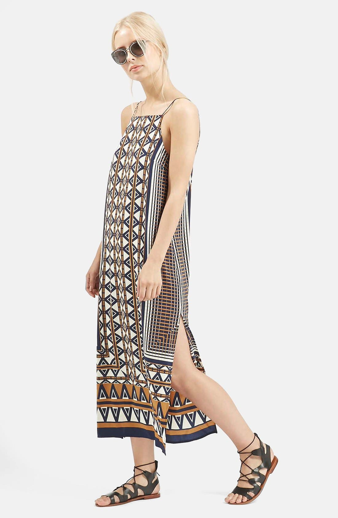 Alternate Image 1 Selected - Topshop Stripe Print Midi Dress