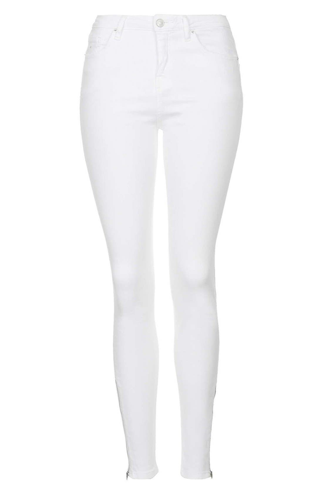 Alternate Image 4  - Topshop Moto 'Jamie' Ankle Zip Jeans (White) (Regular & Short)