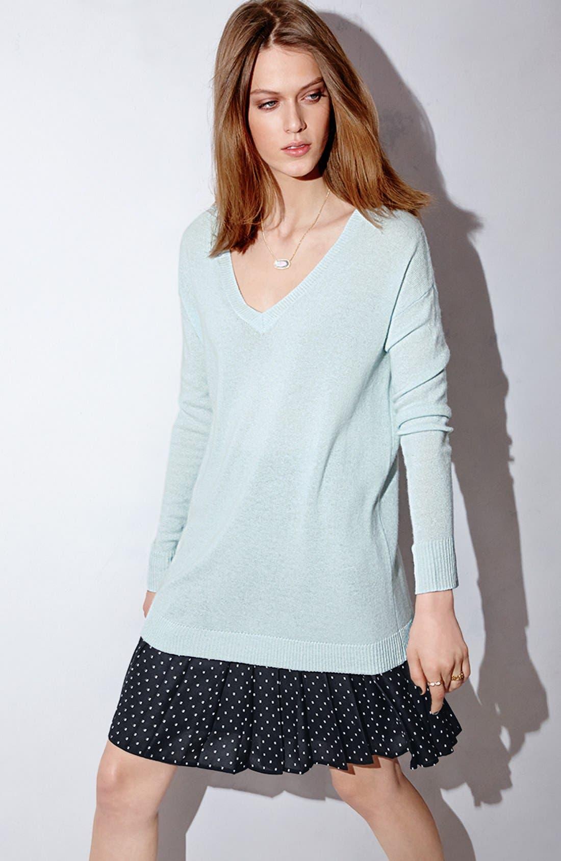 Alternate Image 4  - Halogen® Print Pleat Drop Yoke Skirt (Regular & Petite)