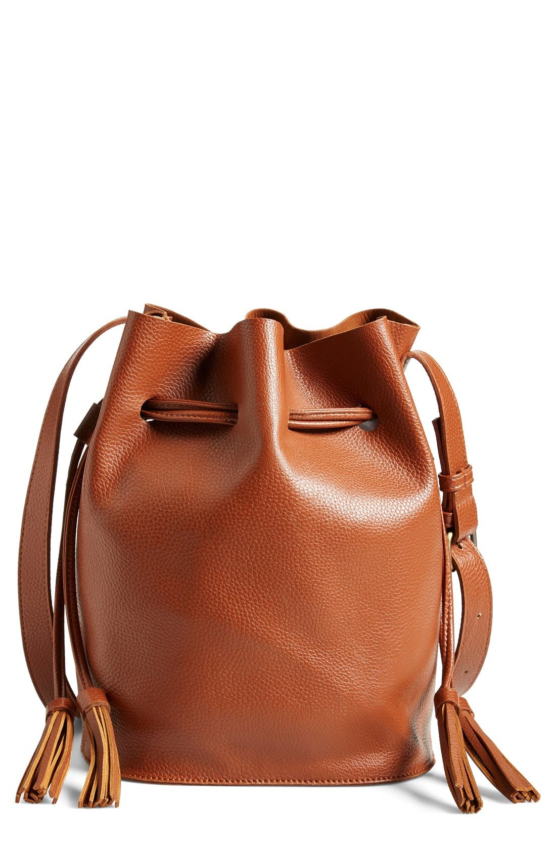 Main Image - Street Level Faux Leather Bucket Bag (Online Only)