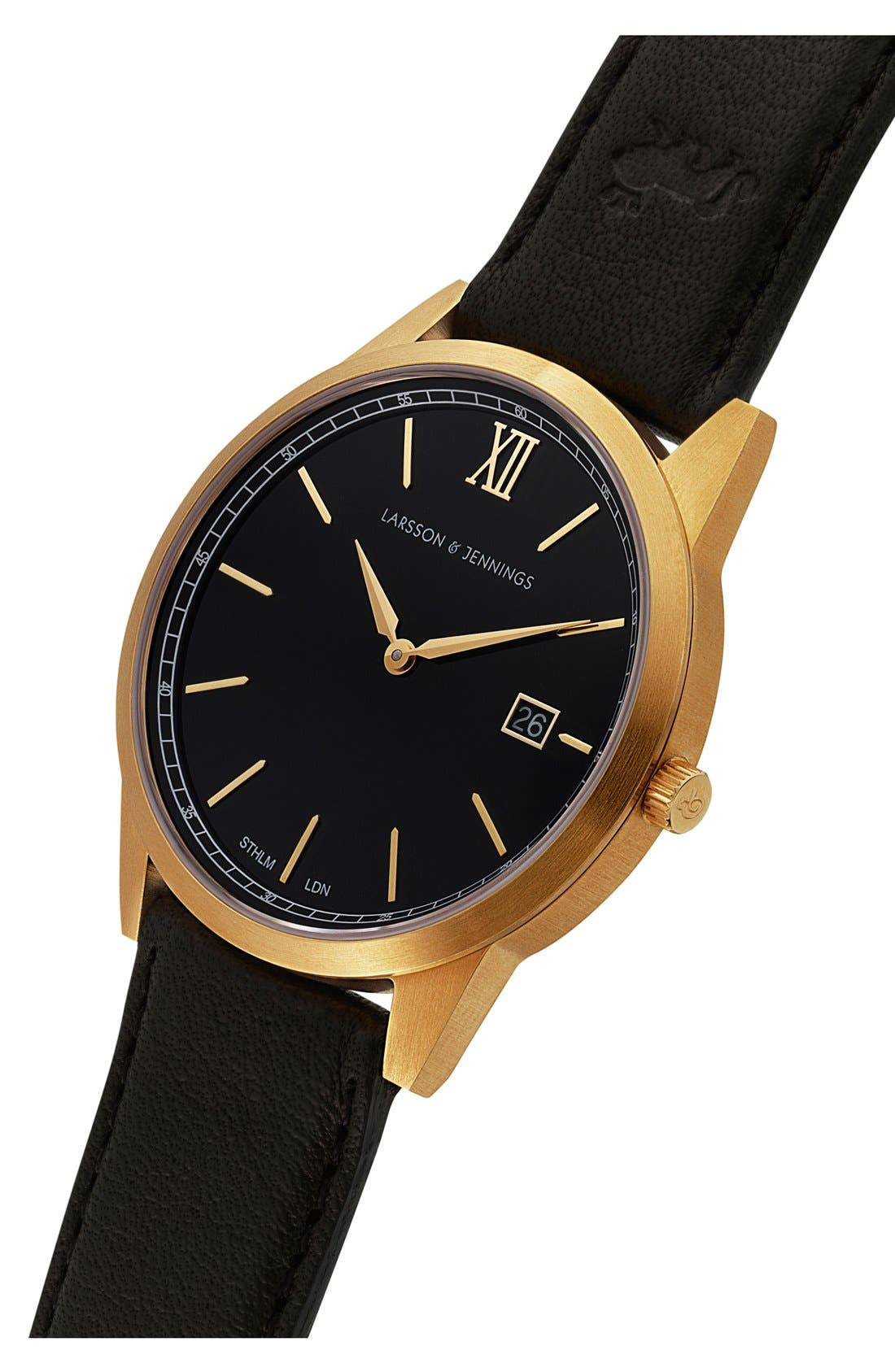 Alternate Image 5  - Larsson & Jennings 'Saxon' Leather Strap Watch, 39mm