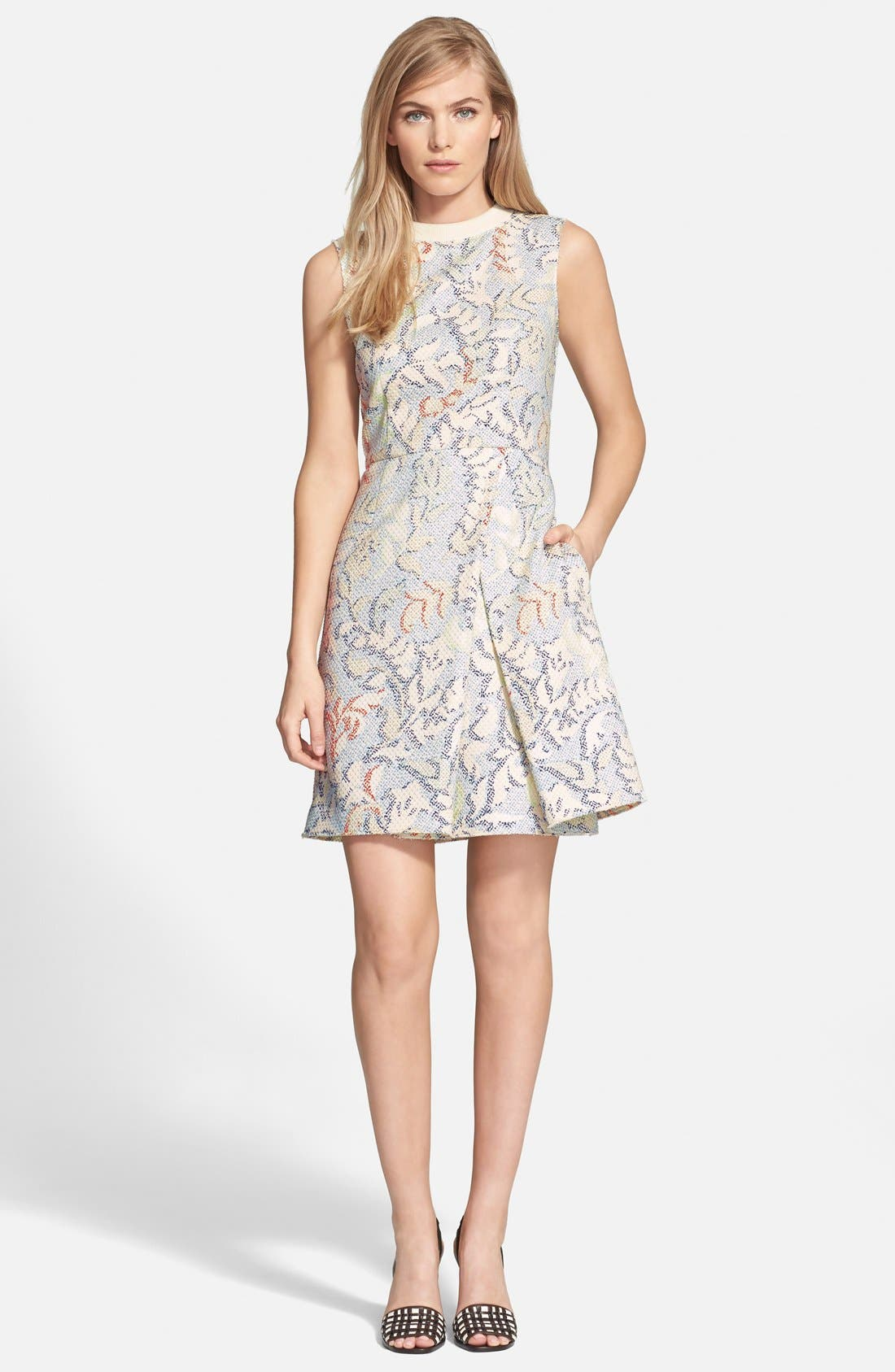 Main Image - Tory Burch Stretch Jacquard Fit & Flare Dress