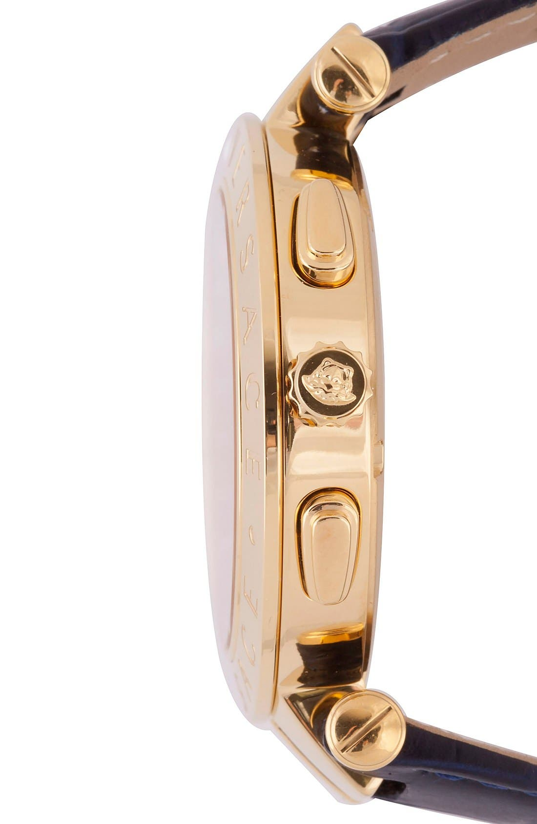 Alternate Image 3  - Versace 'V-Race GMT' Round Leather Strap Watch, 46mm