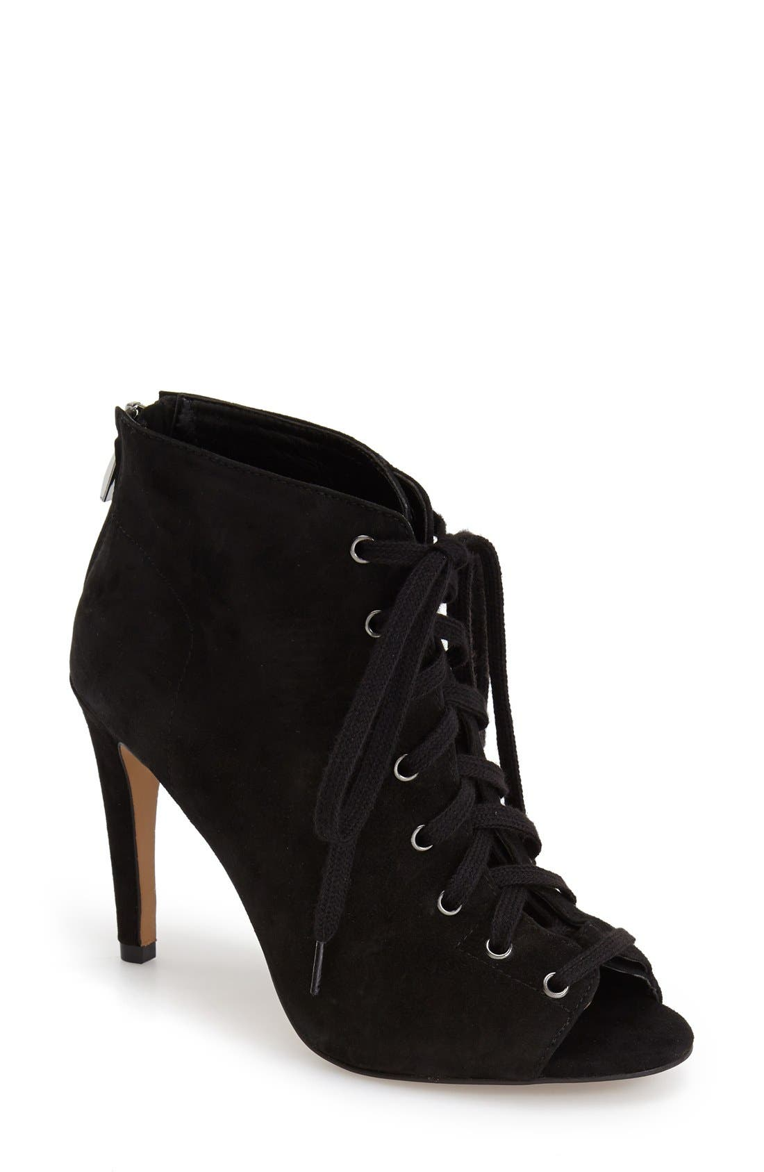 Main Image - French Connection 'Quillan' Lace-Up Peep Toe Bootie (Women)