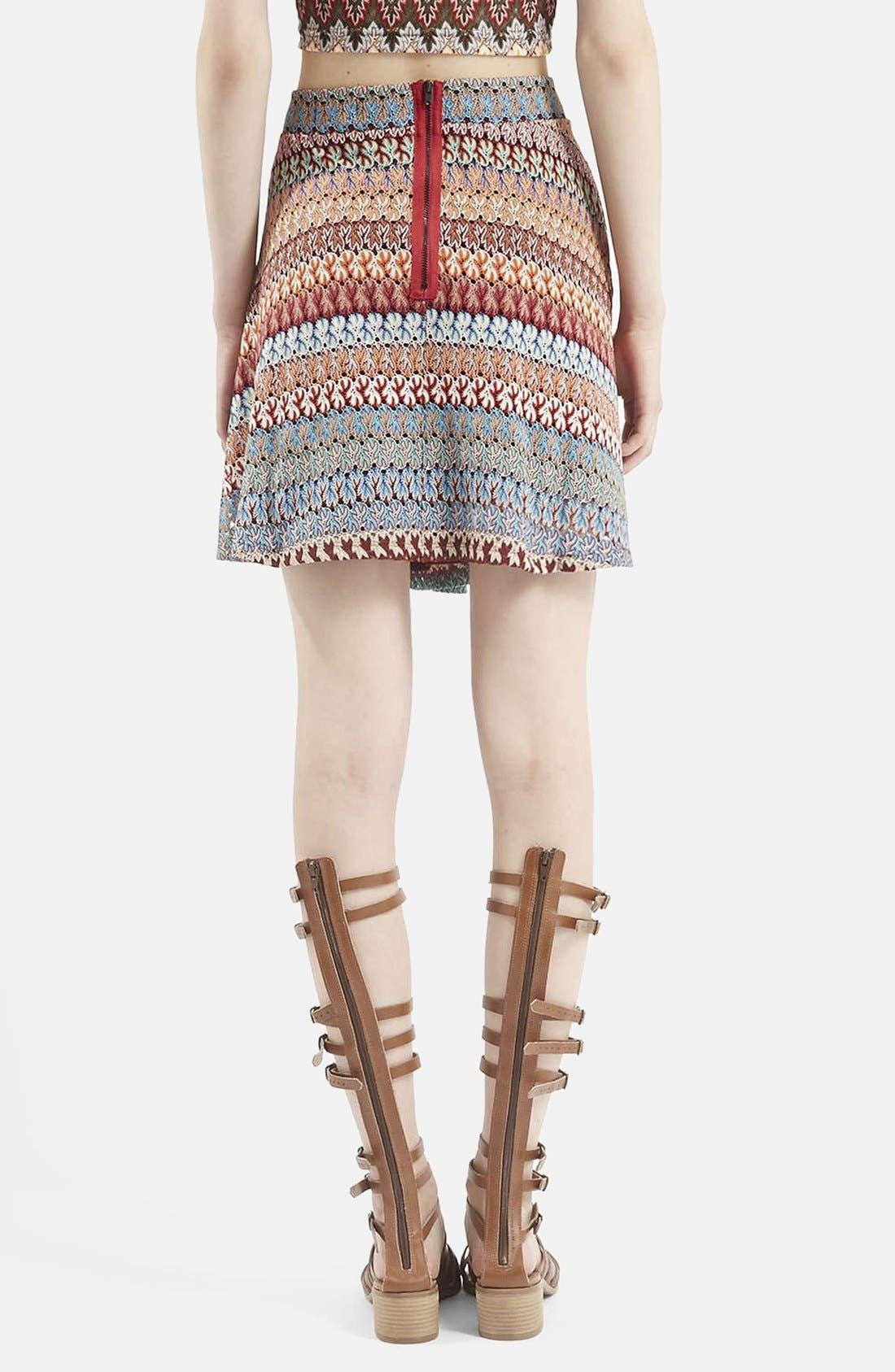 Alternate Image 2  - Topshop Crochet Stripe A-Line Skirt