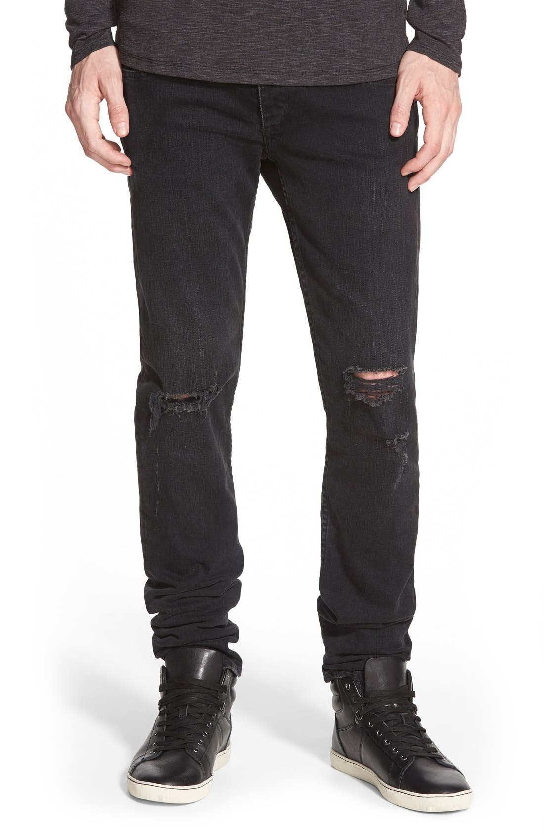 Main Image - rag & bone Standard Issue 'Fit 1' Skinny Fit Jeans (Rock with Holes)