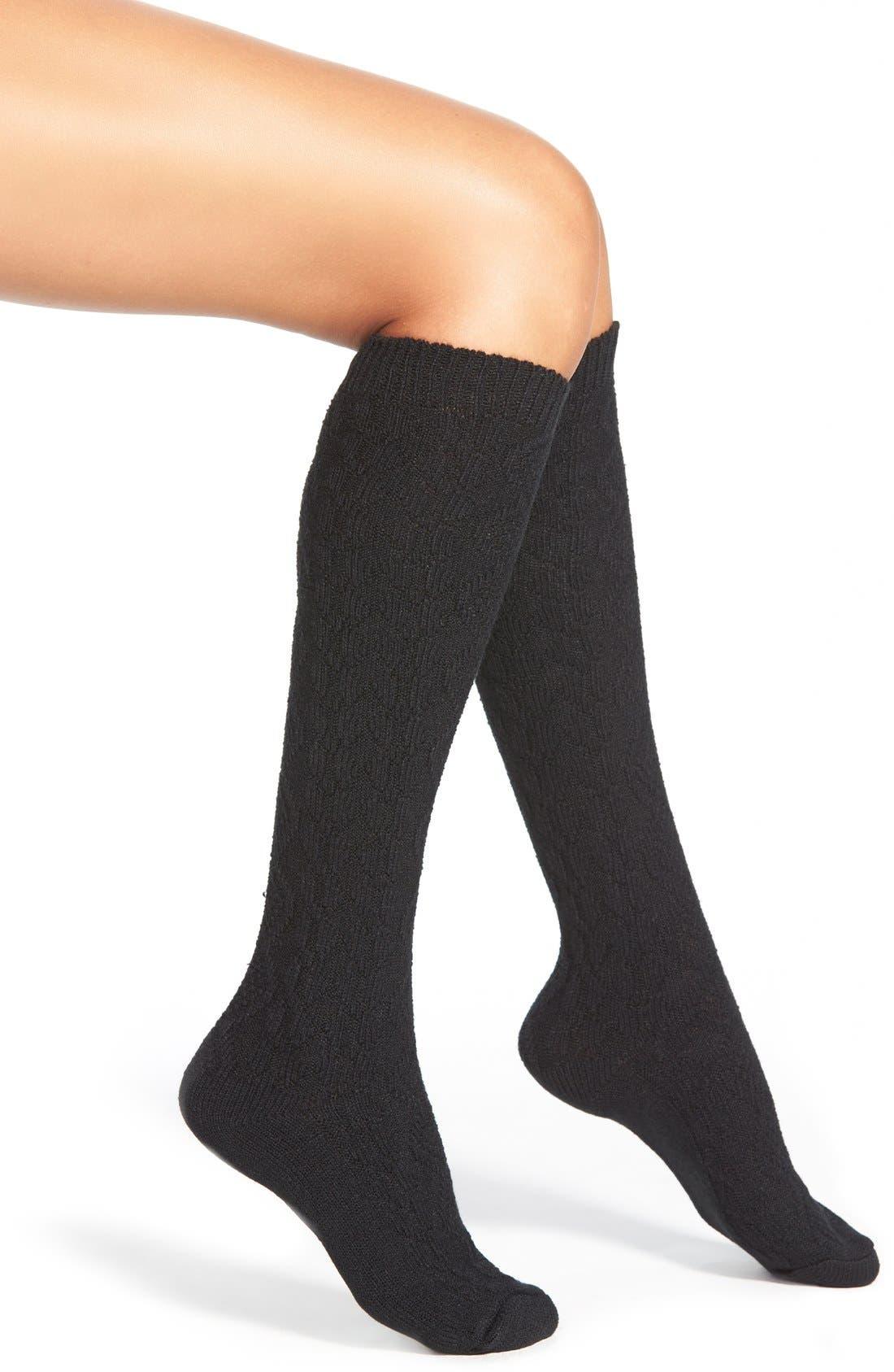 Alternate Image 1 Selected - Hue 'Fisherman' Cable Knit Knee High Socks