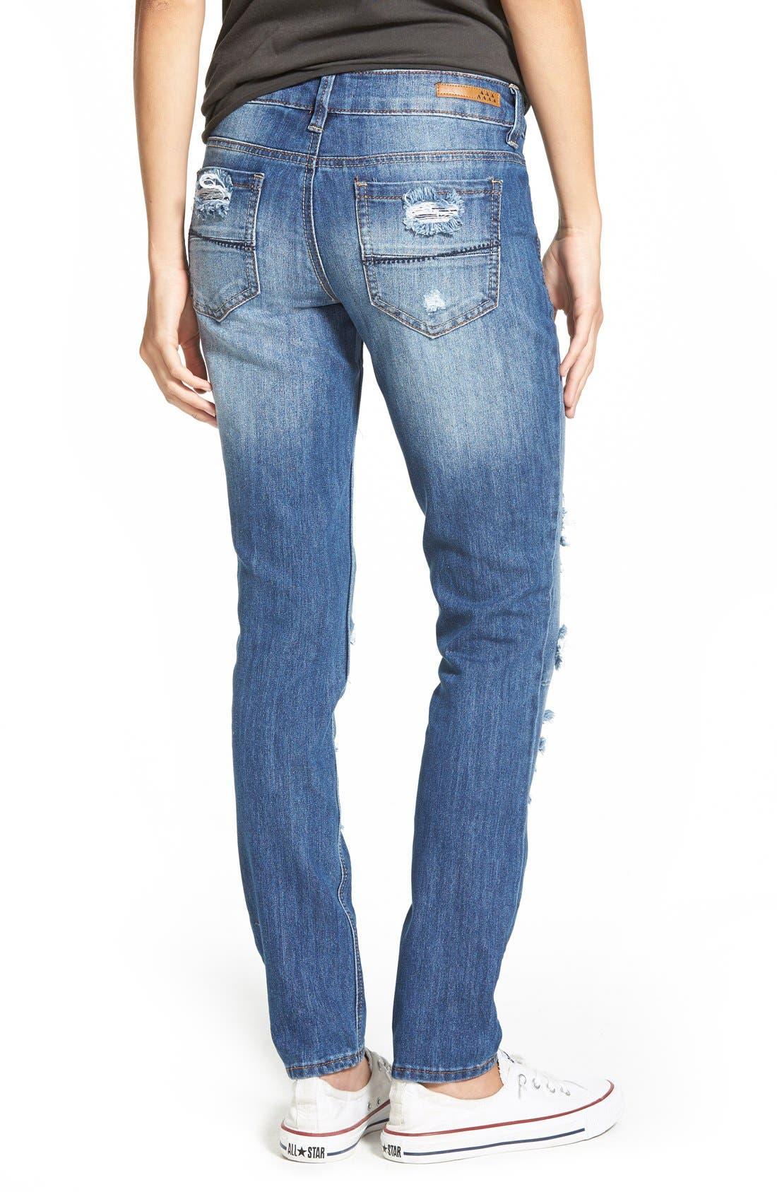 Alternate Image 2  - Dollhouse Destroyed Skinny Jeans (Medium Wash)