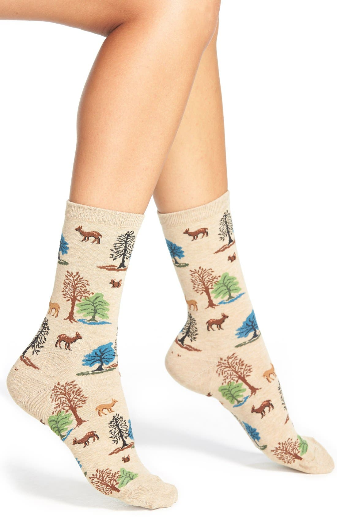 Main Image - Hot Sox 'Deer Scene' Crew Socks (3 for $15)