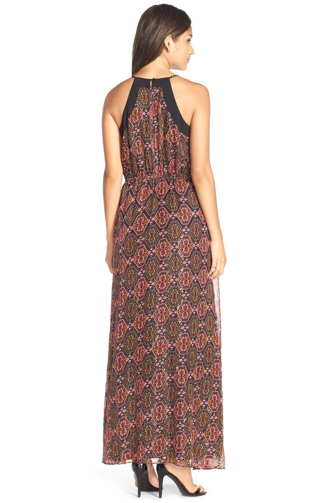 Alternate Image 2  - Adelyn Rae Print V-Neck Maxi Dress