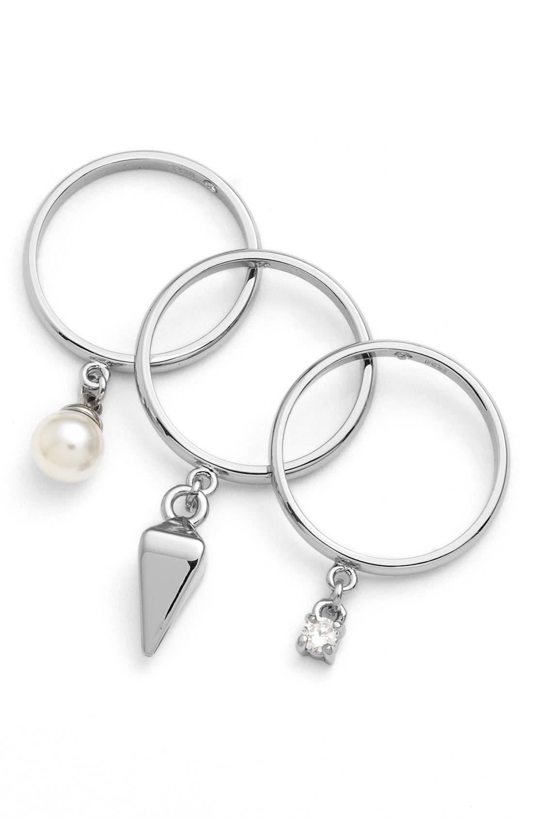 Alternate Image 2  - Rebecca Minkoff 'Jewel Box' Stackable Charm Rings (Set of 3)