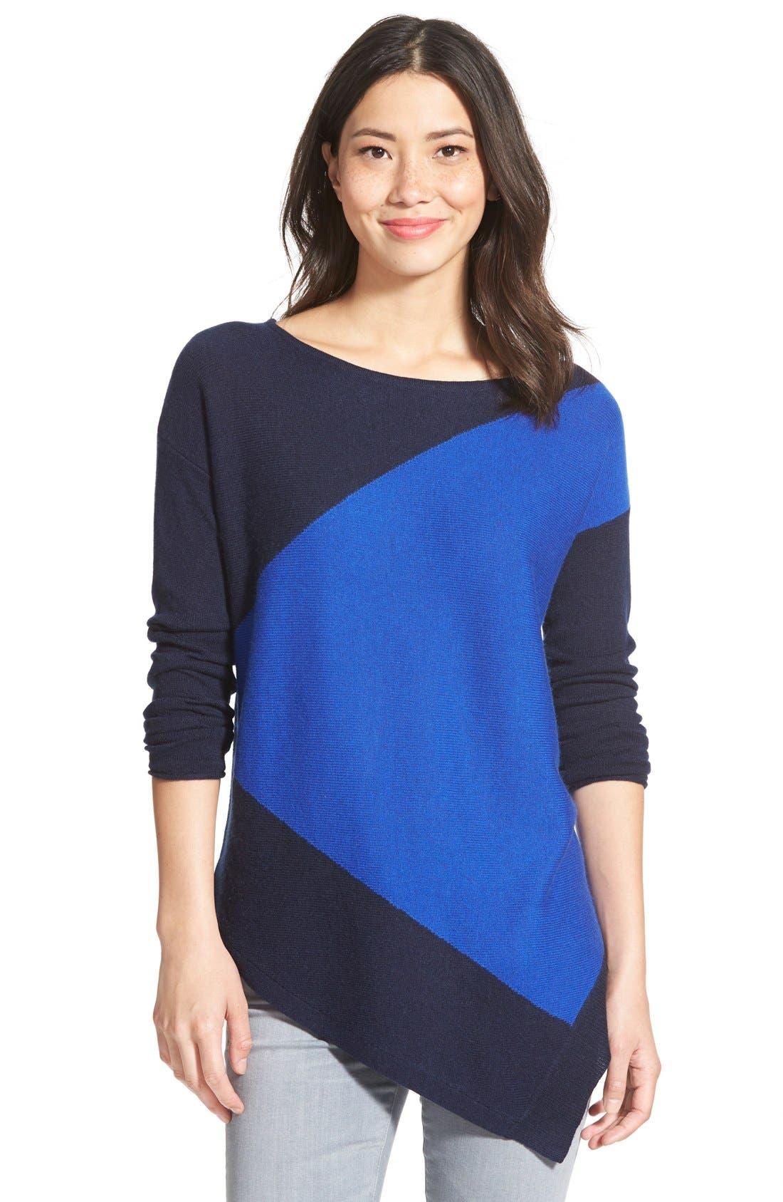 Alternate Image 1  - Halogen® Asymmetrical Wool & Cashmere Sweater