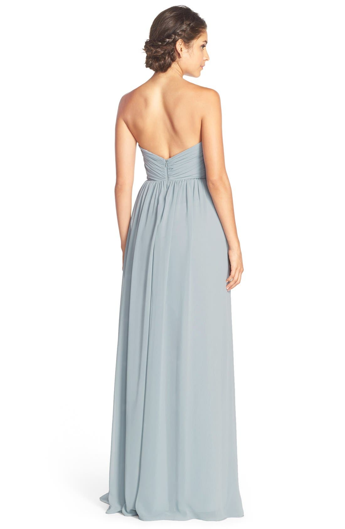 Alternate Image 2  - Jim Hjelm Occasions Strapless Chiffon Sweetheart A-Line Gown