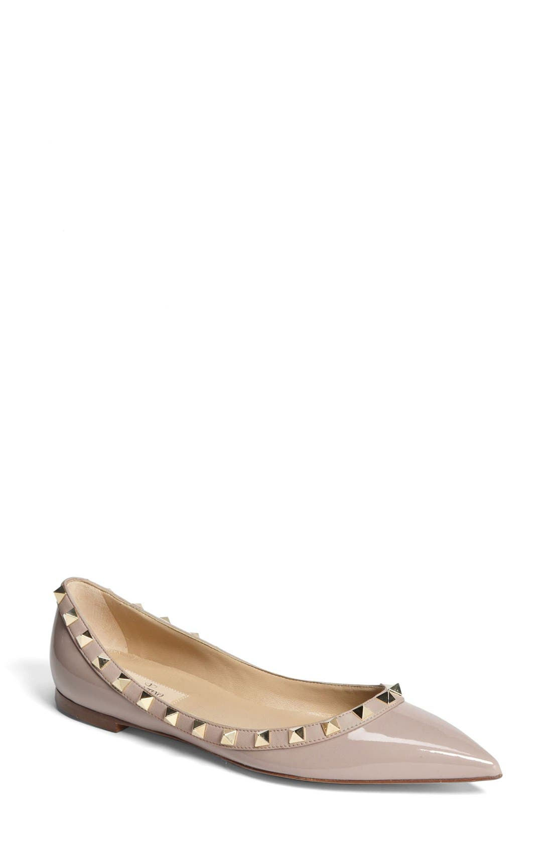 Alternate Image 1 Selected - Valentino Rockstud Ballerina Flat (Women)