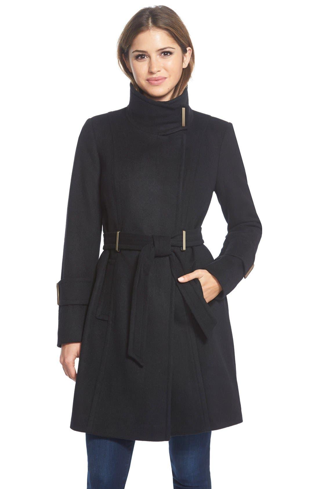 Main Image - T Tahari'India' Wool Blend Wrap Coat