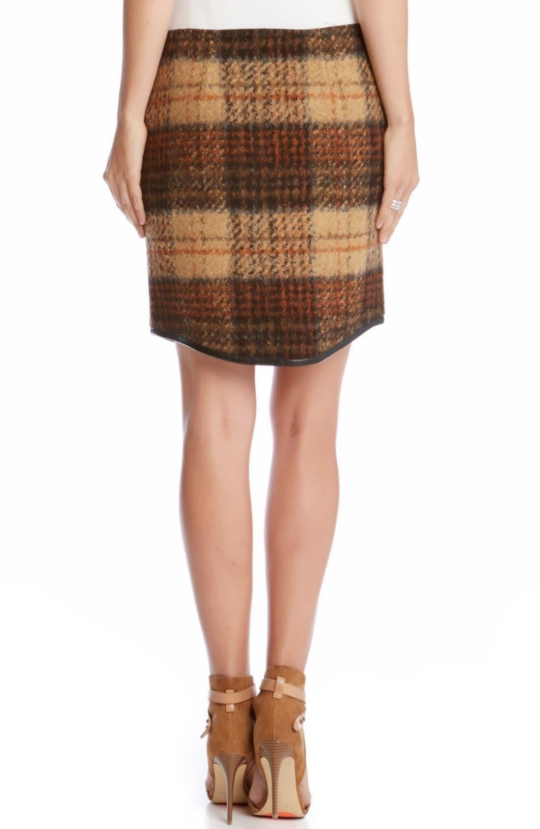 Alternate Image 2  - Karen Kane Curved Hem Plaid Pencil Skirt