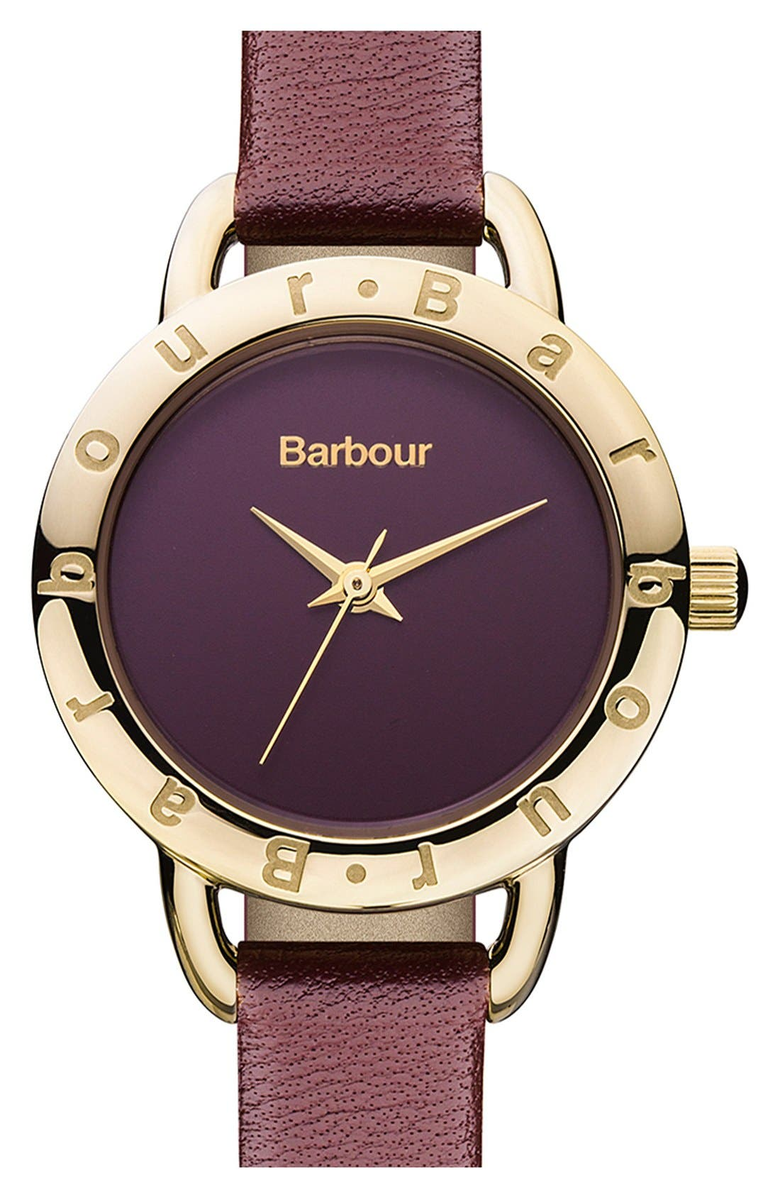 Main Image - Barbour 'Heritage' Leather Strap Watch, 26mm