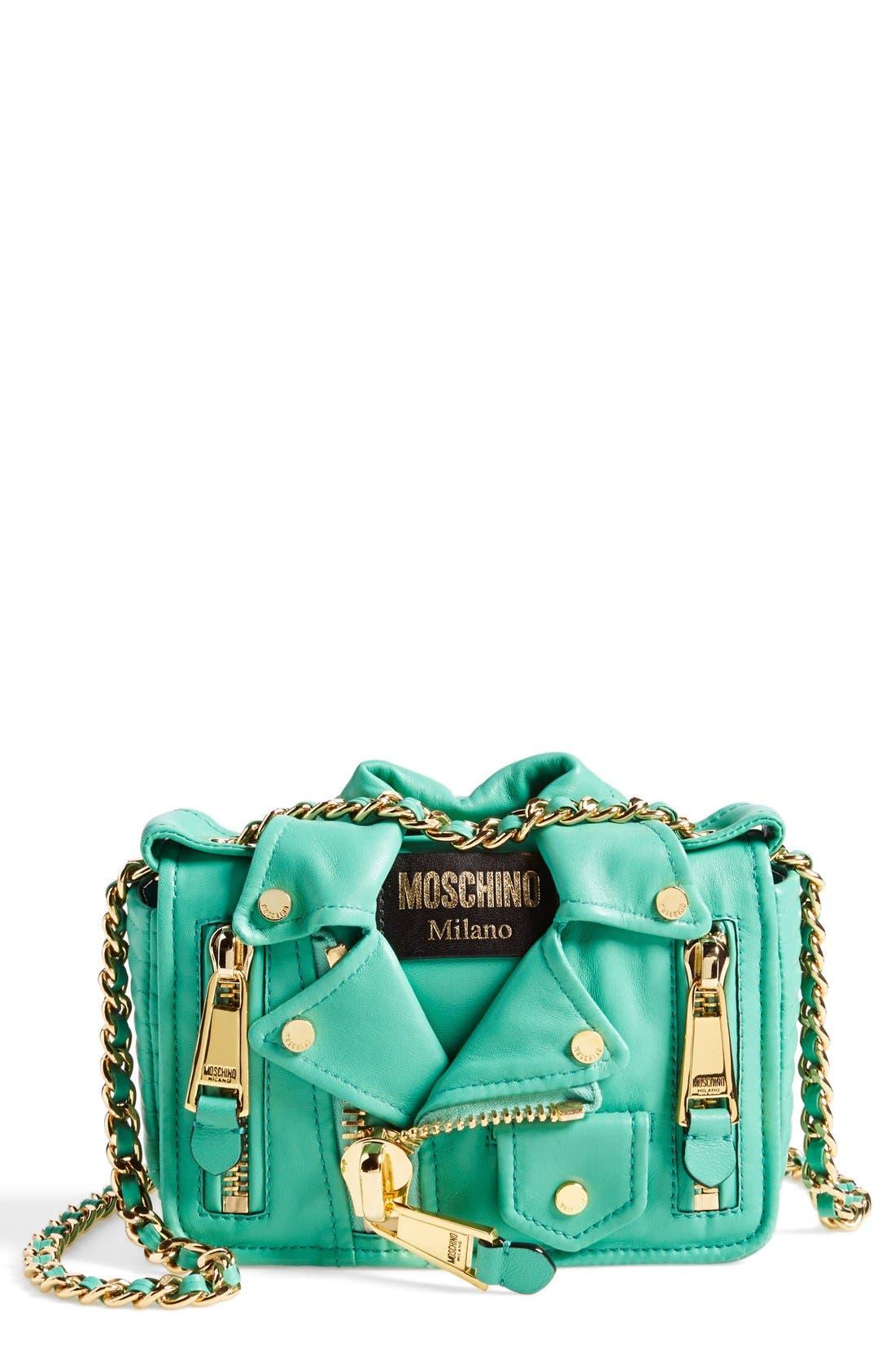 Alternate Image 1 Selected - Moschino 'Mini Leather Jacket' Crossbody Bag