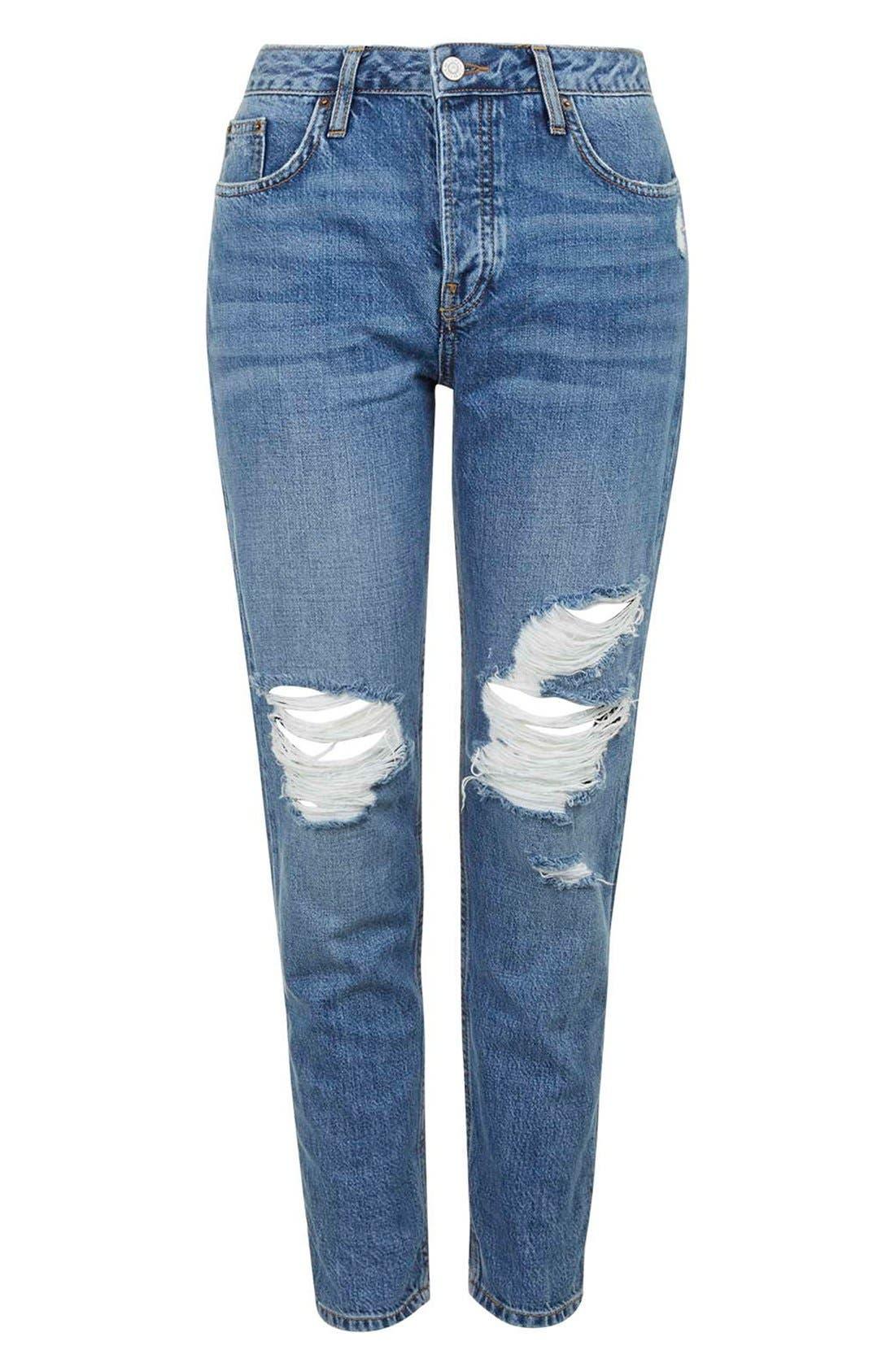 Alternate Image 4  - TopshopMoto'Hayden' Ripped Boyfriend Jeans (Tall)