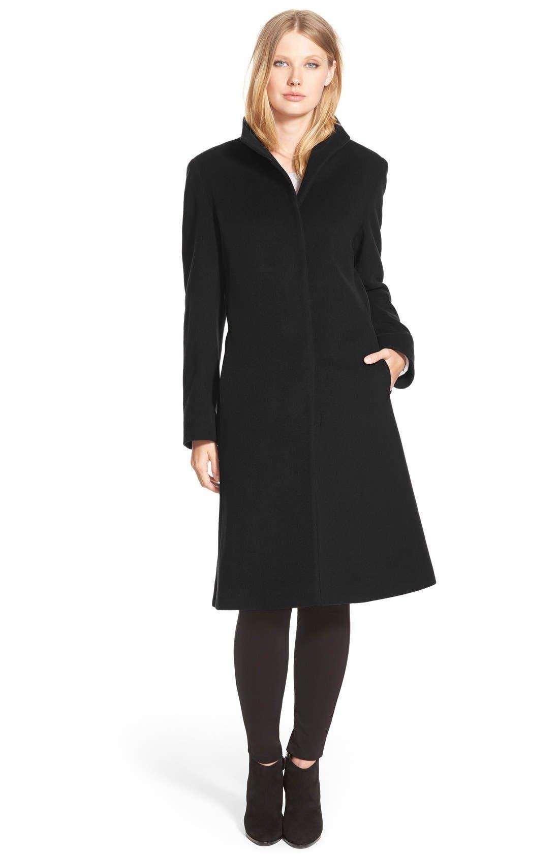 Main Image - Cinzia Rocca DUE Funnel Collar Wool Blend Long Coat (Regular & Petite)