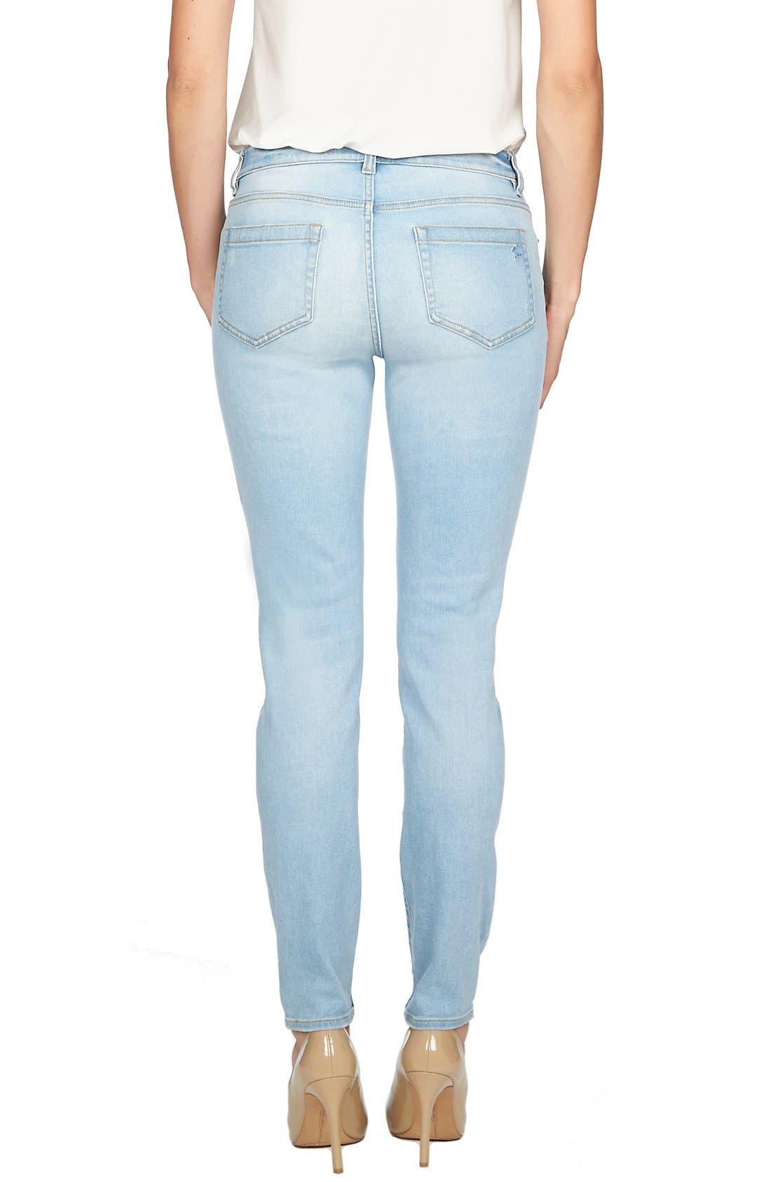 Alternate Image 2  - CeCe by Cynthia Steffe Distressed Stretch Skinny Jeans (Sky)