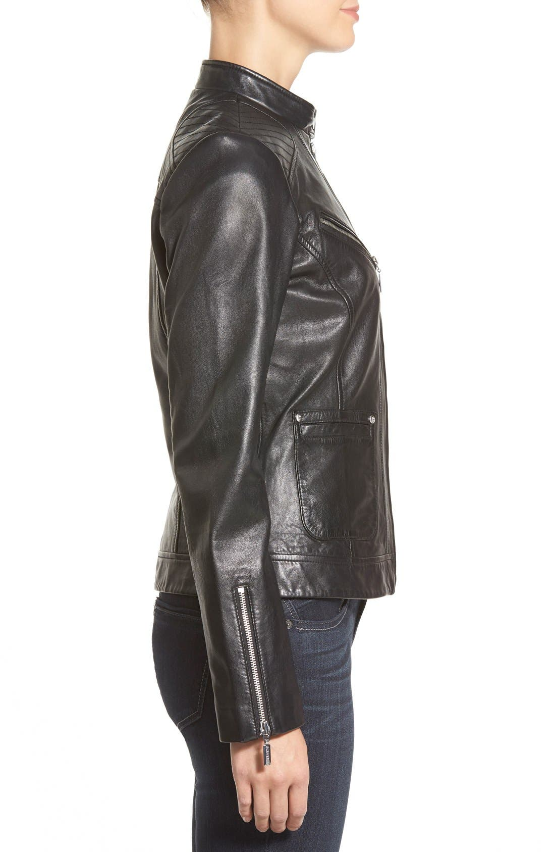 Alternate Image 3  - Bernardo Zip Front Leather Jacket (Regular & Petite)