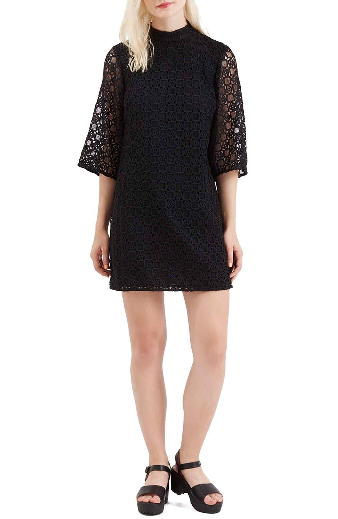 Alternate Image 2  - Topshop Bell Sleeve Lace Dress