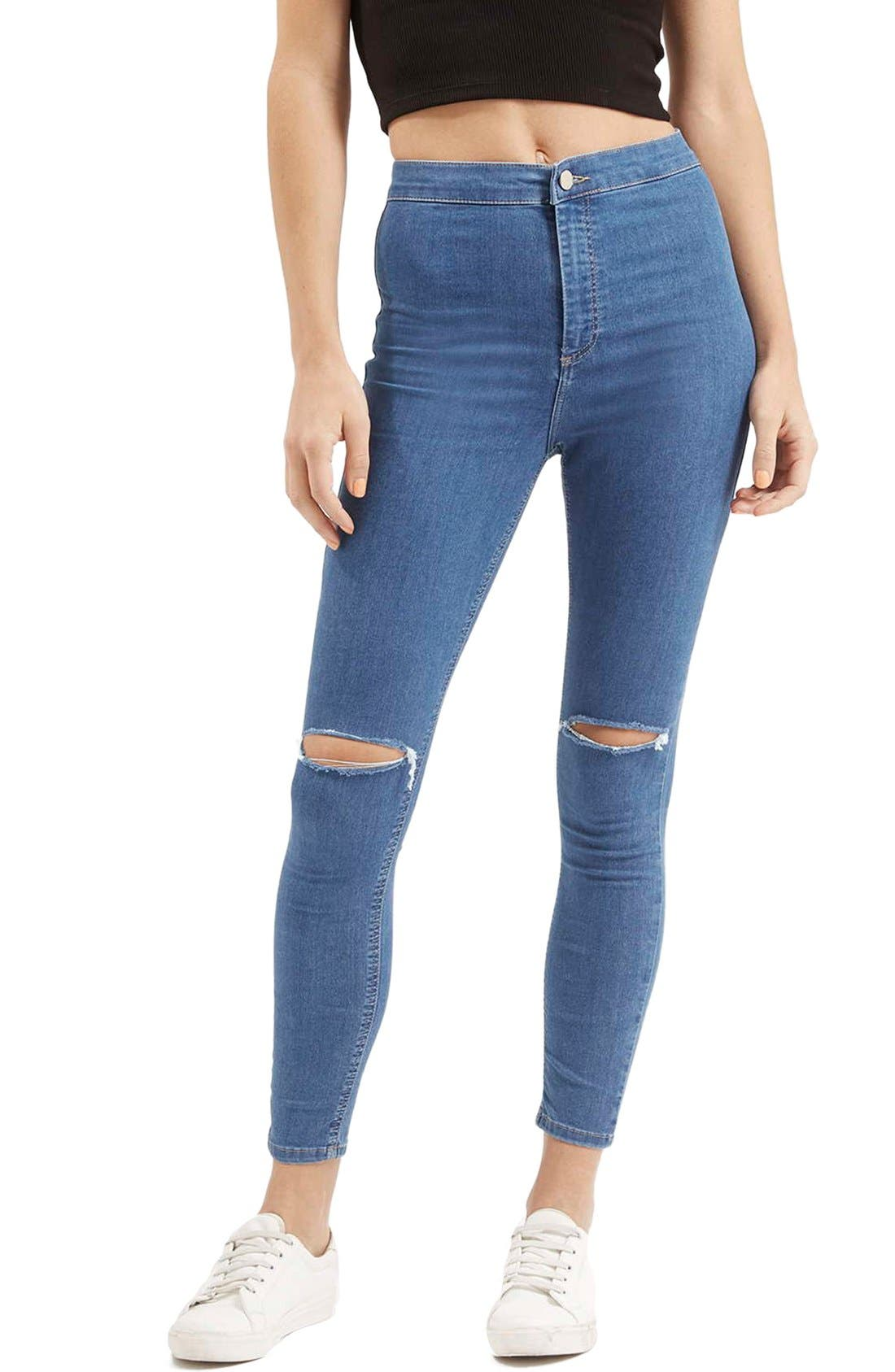 Main Image - Topshop 'Joni' RippedHigh Rise Skinny Jeans (Petite)