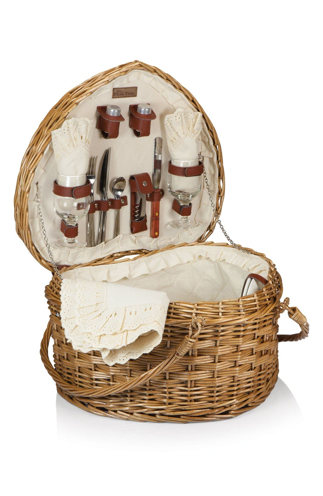 Picnic Time Heart Shaped Wicker Picnic Basket