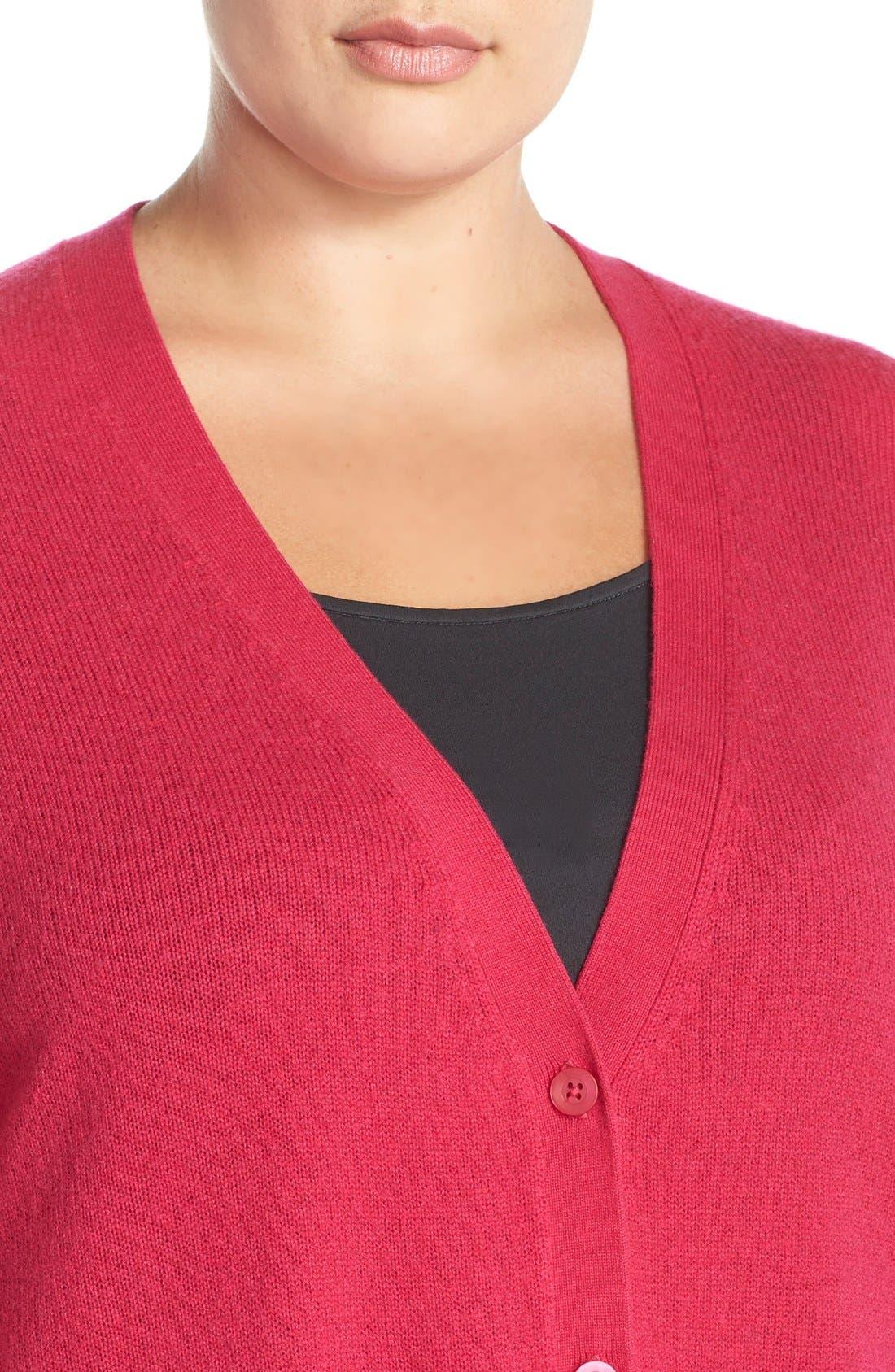 Alternate Image 4  - Sejour Wool & Cashmere Trapeze Cardigan (Plus Size)