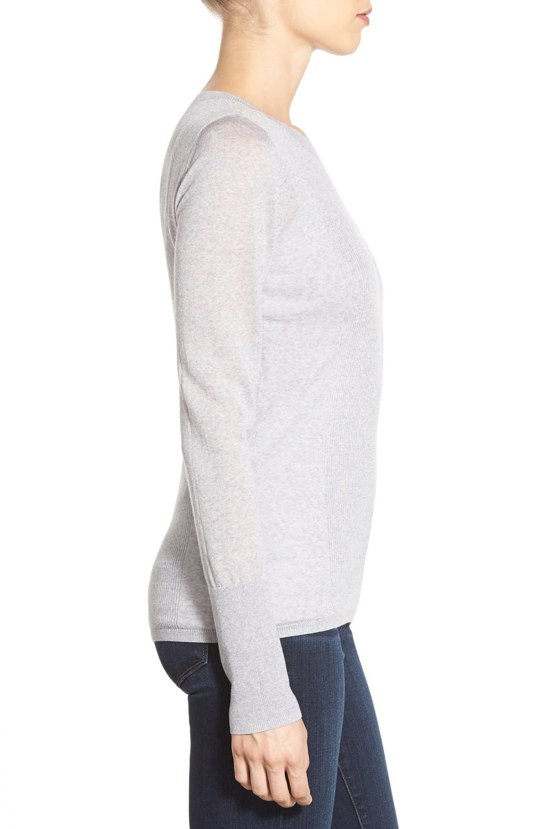 Alternate Image 3  - Halogen® Rib Detail Lightweight Merino Wool Sweater (Regular & Petite)